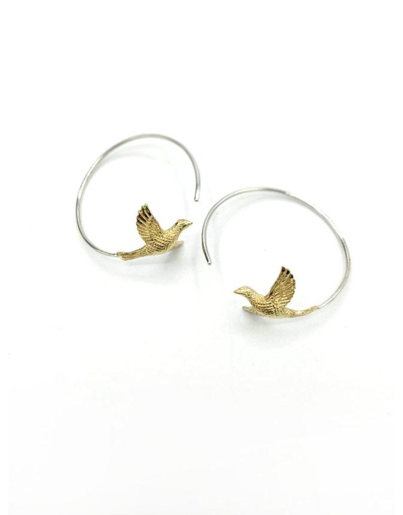 In BlissfulCo Sterling Silver & Brass Love Bird Hoops