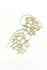In BlissfulCo Sterling Silver & Brass Sleeping Lotus Earrings