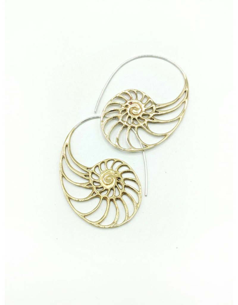 In BlissfulCo Sterling Silver & Brass Nautilus Earrings