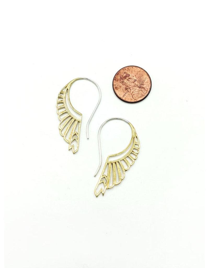 In BlissfulCo Sterling Silver & Brass Huntress Earrings