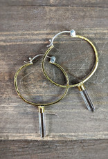 In BlissfulCo Sterling Silver, Brass & Crystal Spear Hoops