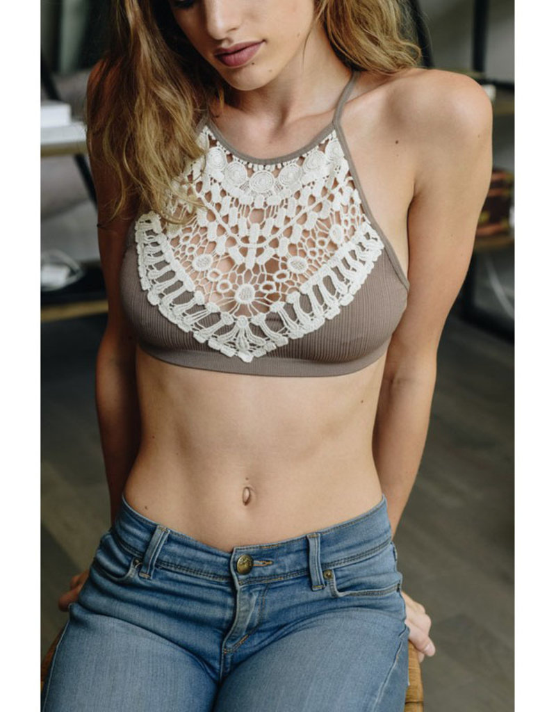 Leto Accessories Crochet Lace High Neck Bralette