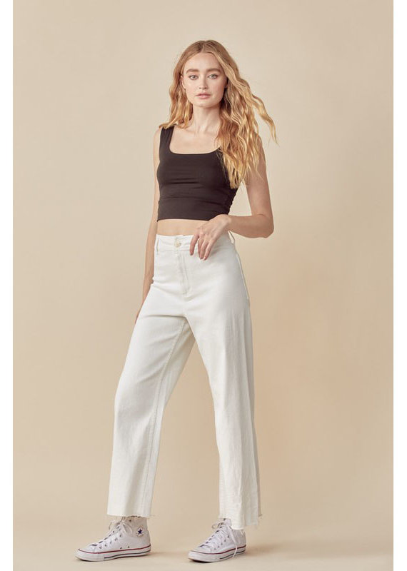 Miou Muse White Straight Leg Jeans