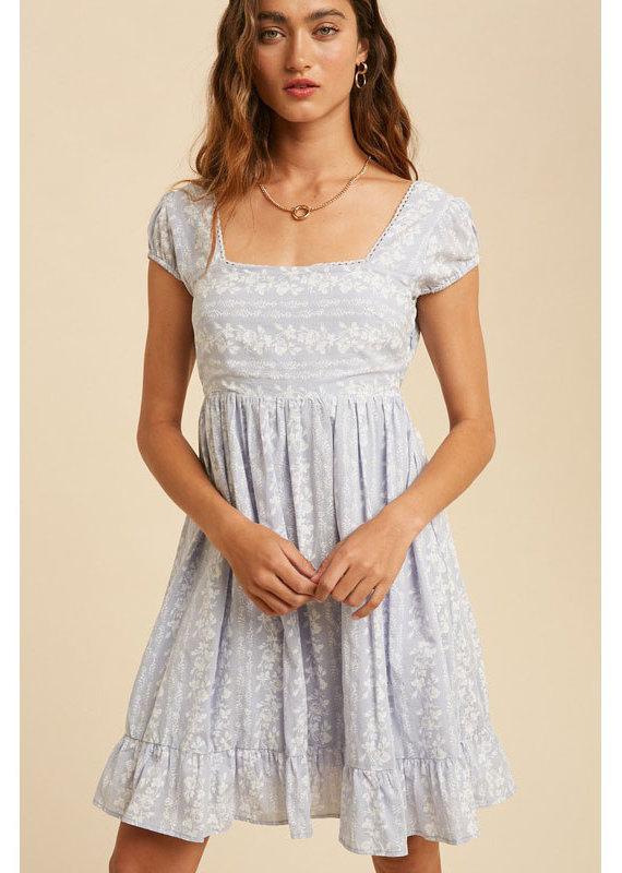 In Loom Pale Blue Babydoll Mini Dress