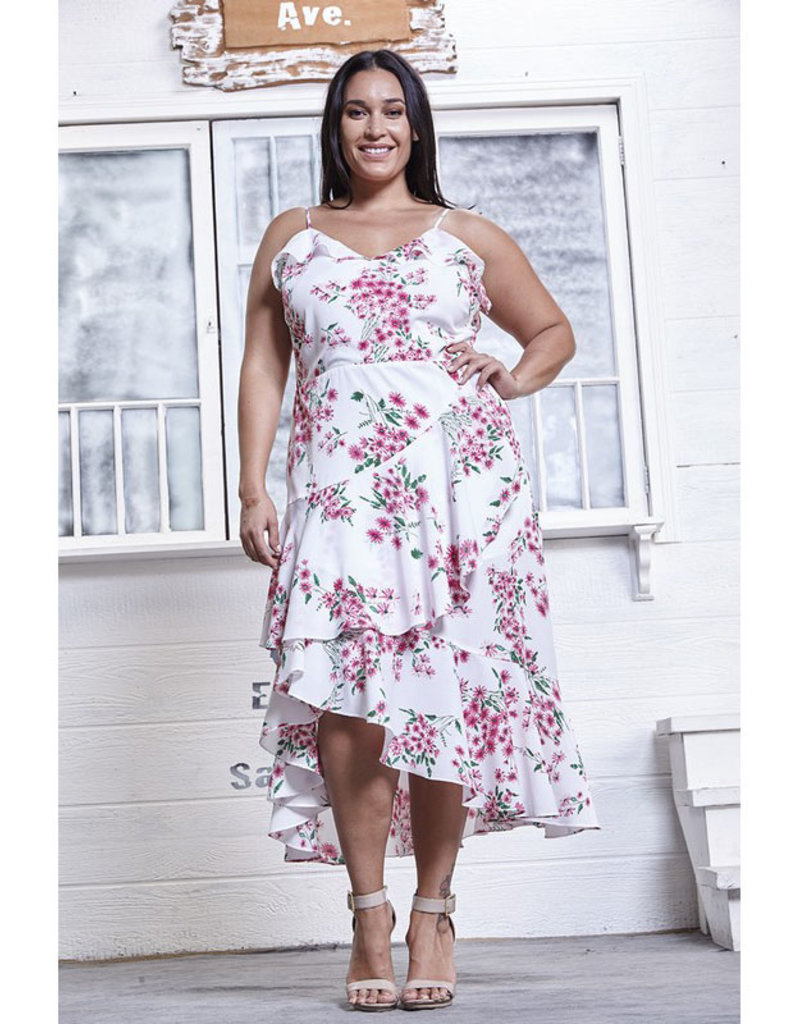 Rose Velvet White Print Ruffle Midi Dress