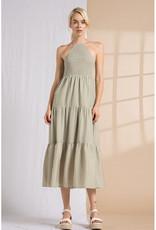 Lena Olive Stripe Halter Midi Dress