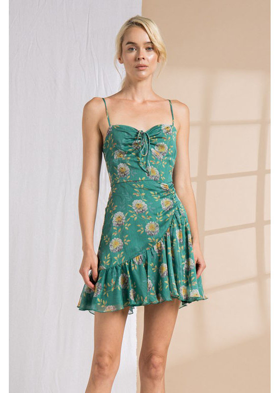 Lena Green Floral Ruched Mini Dress