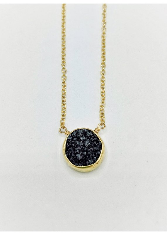 Waterlily Jewelry #818 Gold Fill Charcoal Druzy