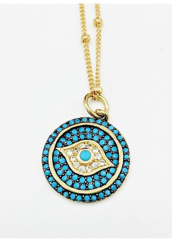Waterlily Jewelry #814 turquoise Glass CZ Evil Eye