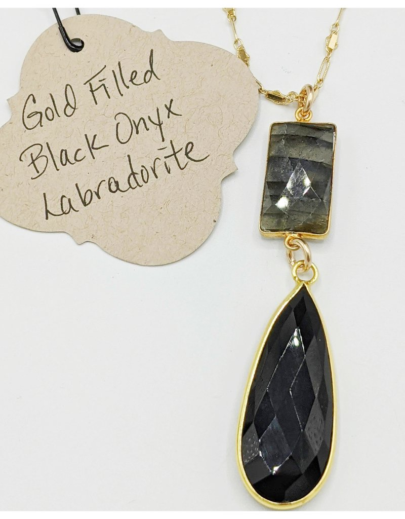 Waterlily Jewelry #807 Gold Fill Blk Onyx, Labradorite