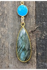 Waterlily Jewelry #806 Gold Fill Labradorite, Turquoise