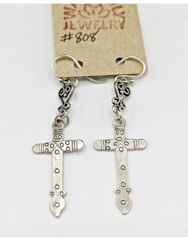 Waterlily Jewelry #808 Sterling Cross Earrings