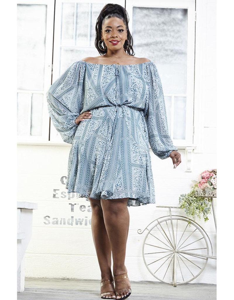Rose Velvet Sage Print Off Shoulder Dress