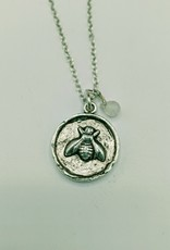 Bird in the Sky Silver Bee w/Moonstone Necklace