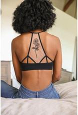 Leto Accessories Floral Tattoo Mesh Bralette