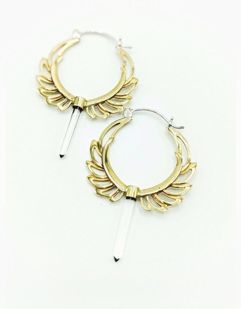 In BlissfulCo Sterling Silver & Brass Spirit Wings Earrings