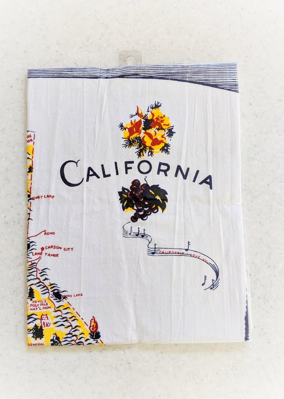 Red and White Kitchen Company Blue California Map Towel