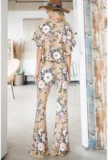 Bucketlist Floral Print Jersey Flares
