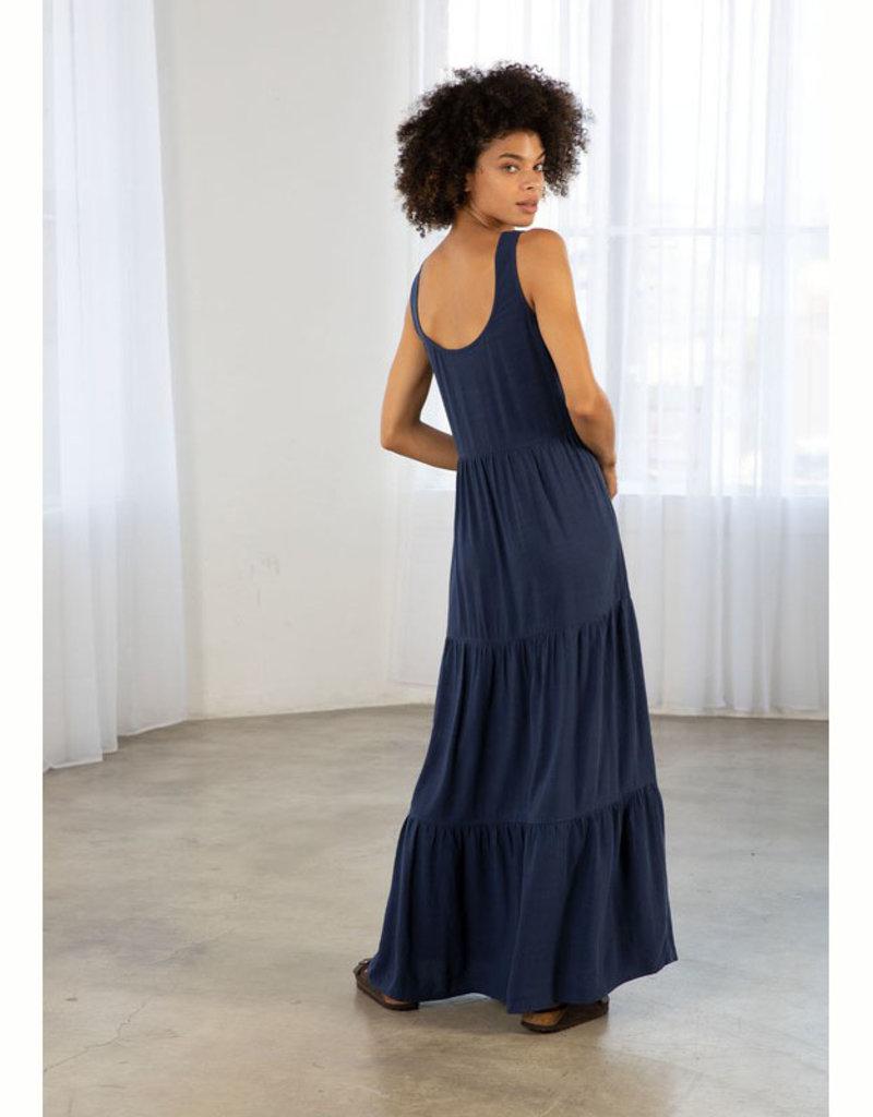 Linen Scoop Neck Maxi Dress