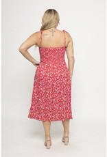Curve Market Red Floral Button Midi Dress