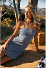 Endless Blu Daisy Ribbed Dress