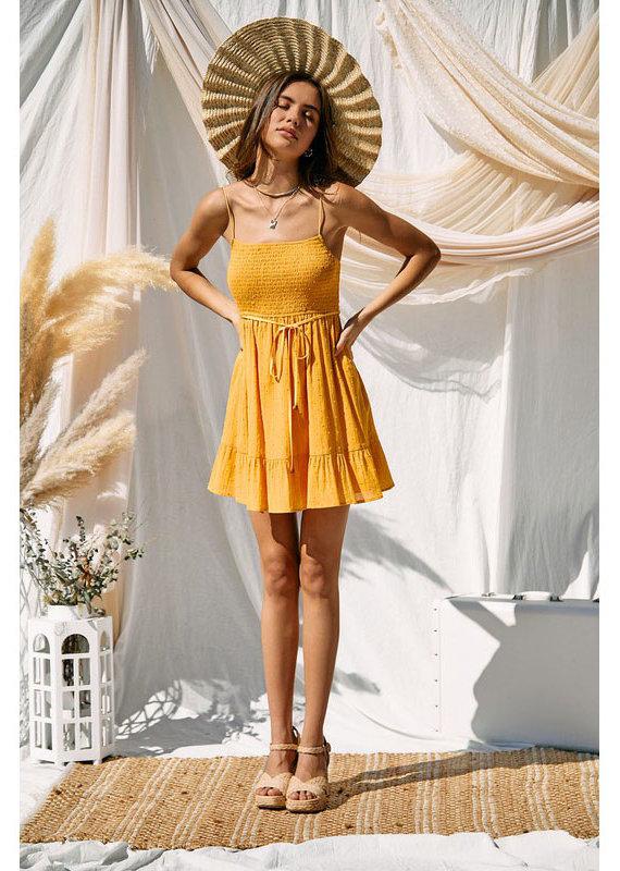 Endless Blu Golden Yellow Smocked Dress