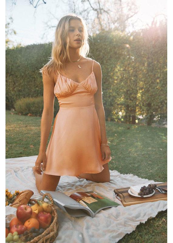 Endless Blu Apricot Satin Dress