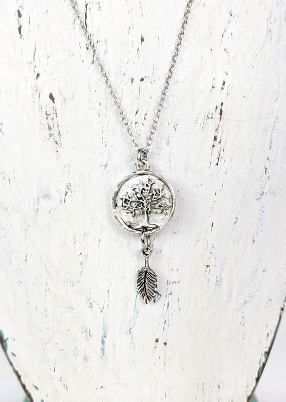 Bird in the Sky Silver Tree of Life w/Leaf Necklace