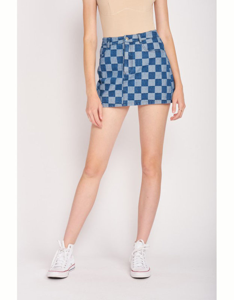 Emory Park Denim Check Mini Skirt