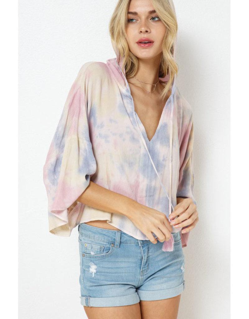 blue b. collection Rainbow Tie Dye Hoodie