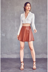 idem ditto Cognac Vegan Leather Skater Skirt