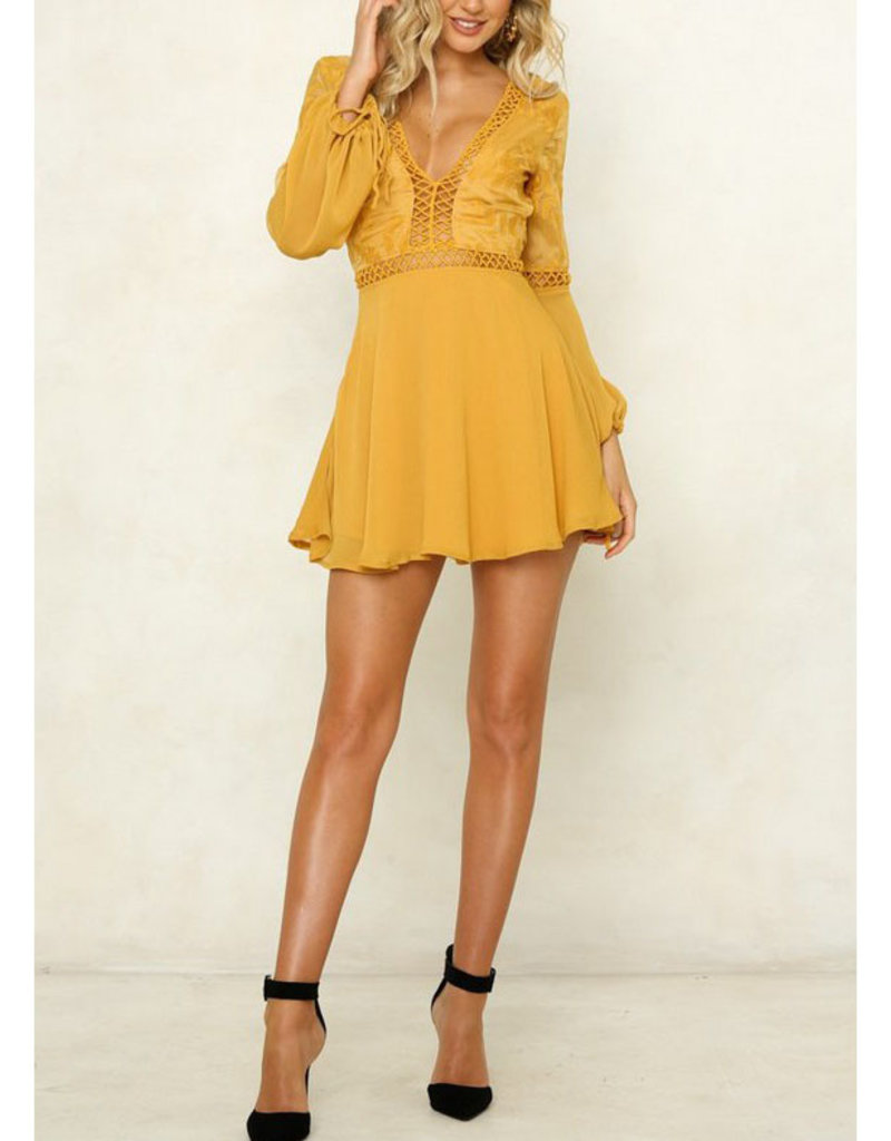 One and Only Collective Mustard Mesh Embroidered Mini Dress