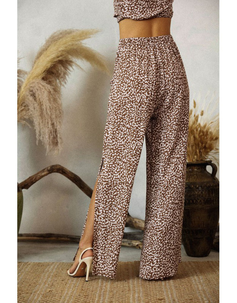 Endless Blu Mocha & Rose Print Slit Pants