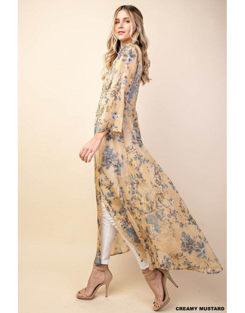 Kori Yellow & Blue Chiffon Long Kimono