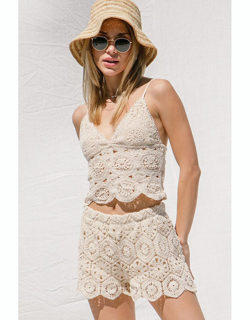 ILLA ILLA Crochet Cami & Shorts Set
