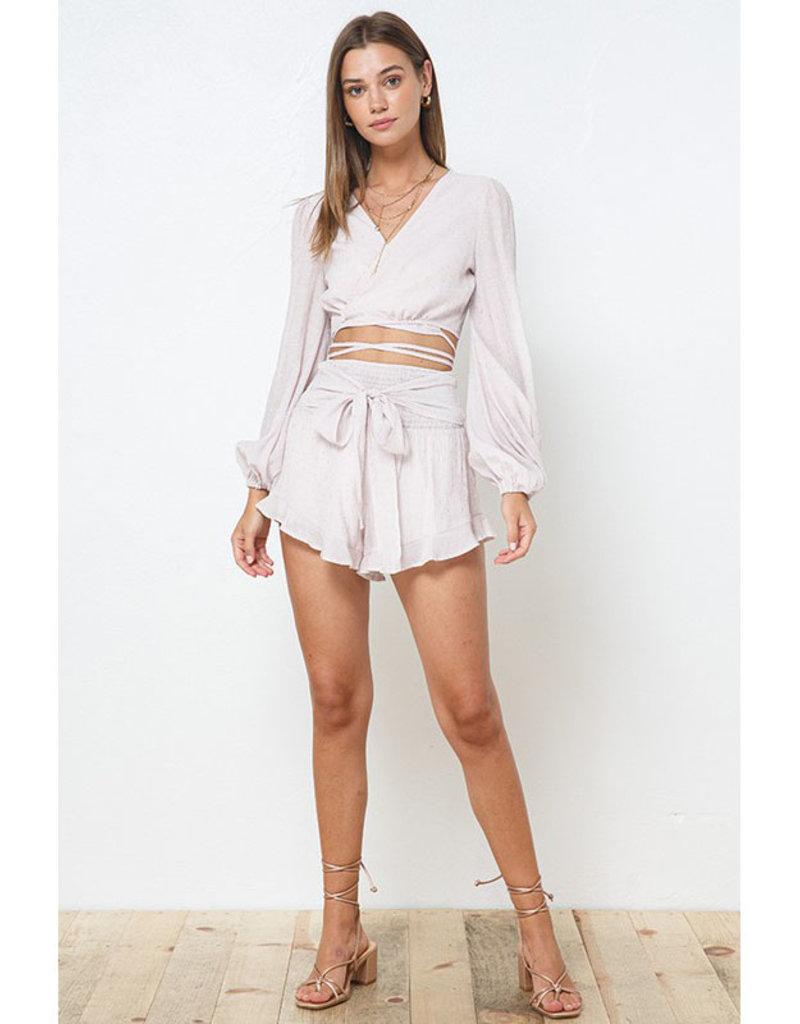 ILLA ILLA Pale Pink Smocked Shorts