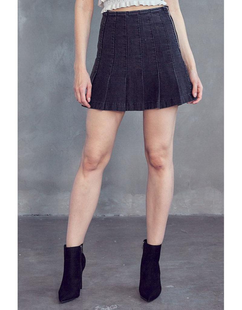 idem ditto Black Denim Tennis Skirt