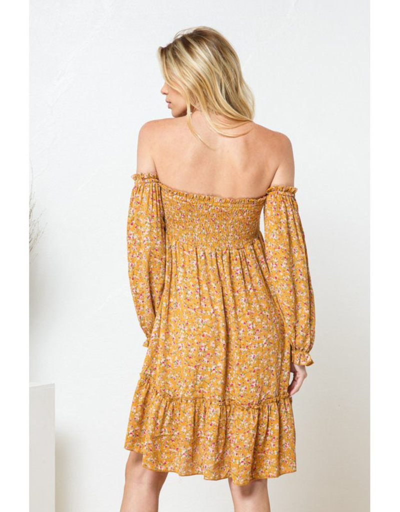 blue b. collection Ditsy Print Off Shoulder Dress