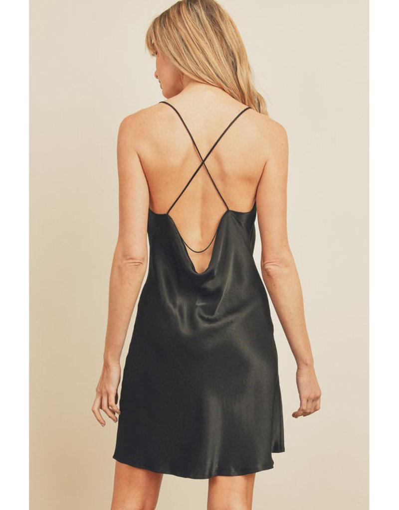 Dress Forum Satin & Lace Cowl Neck Dress