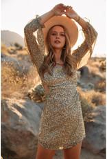 Endless Blu Floral Long Sleeve Dress w/Cut Outs