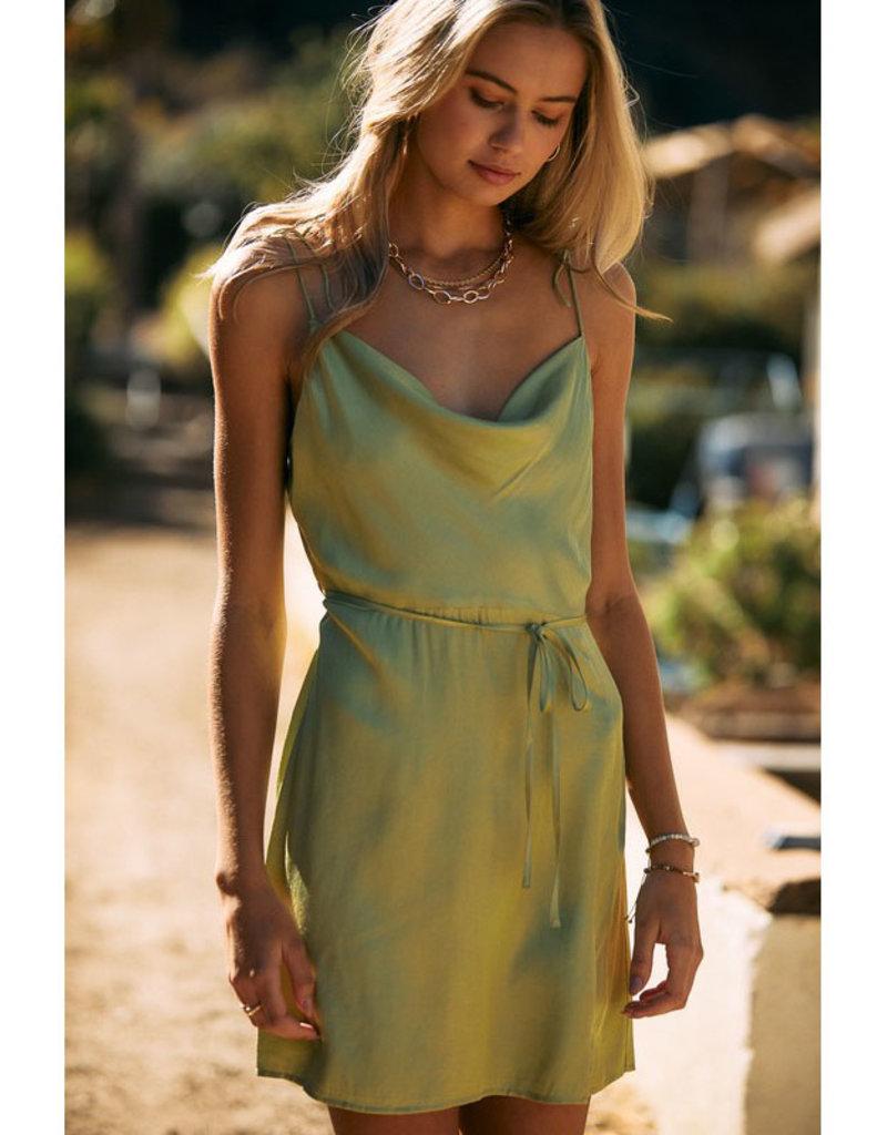 Endless Blu Satin Cowl Neck Dress
