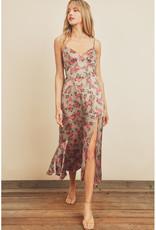 Dress Forum Floral Satin Plunge Midi Dress