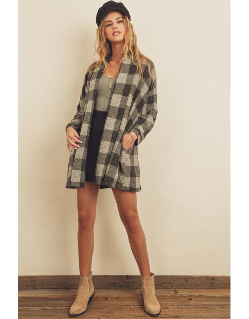 Dress Forum Brushed Plaid Shawl Collar Coat