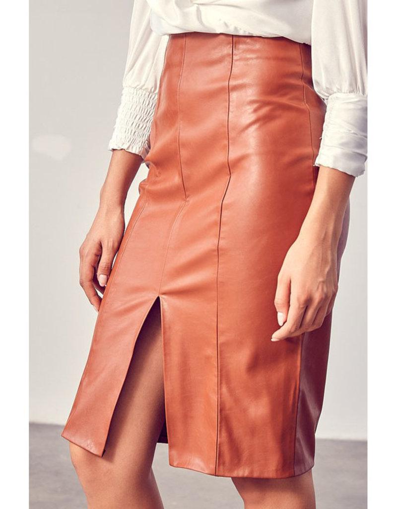 Do + Be Cognac Vegan Leather Pencil Skirt