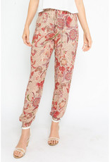 Olivaceous Red Floral Drawstring Pants