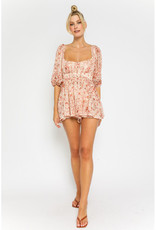 Olivaceous Rust Print Puff Sleeve Romper
