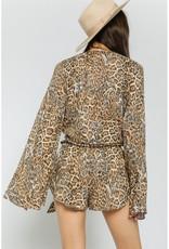 Olivaceous Long Sleeve Leopard Tie Top