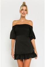 Olivaceous Off Shoulder Smocked Dress