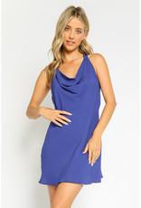 Olivaceous Cobalt Cowl Neck Mini Dress