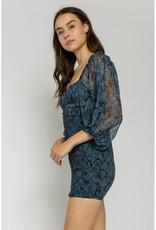 Olivaceous Black & Blue Smocked Dress